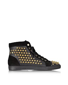 Black Studded High Top Sneaker