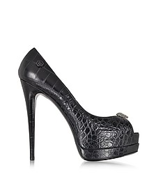 Black Superskull Peeptoe Pumps - Philipp Plein