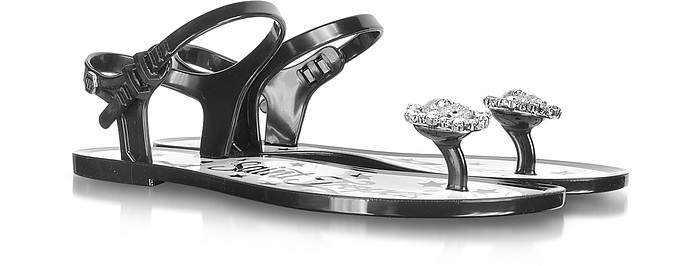 The One and Only Black Jelly Flat Sandal - Philipp Plein