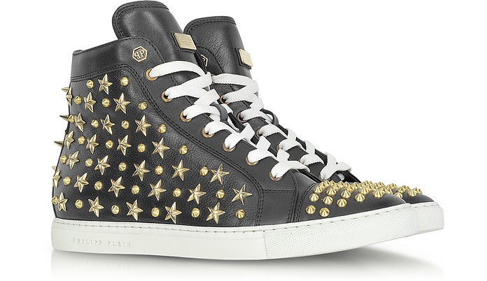 Sneaker Celebration in Pelle Nera con Borchie e Stelle - Philipp Plein