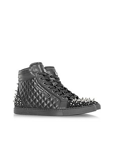 Black Leather w/Crystal Captain Sneaker