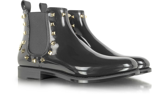 Black Rivets Gummy Ankle Boot - Philipp Plein