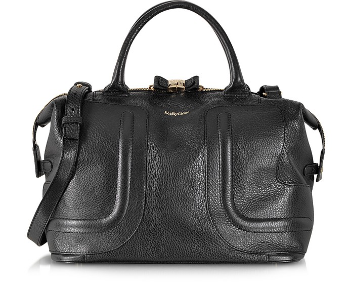 See by Chloé Black Kay Grained Leather Medium Handbag at FORZIERI c6bbd4e6d0c