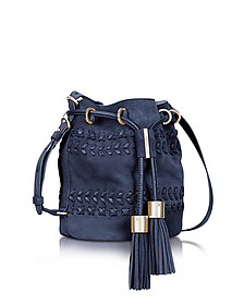 Vicki Ultramarine Braided Leather & Suede Bucket Bag w/Tassels - See by Chloé