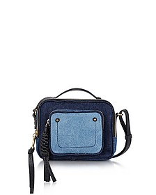 Patti Denim and Black Leather Crossbody Bag - See by Chloé