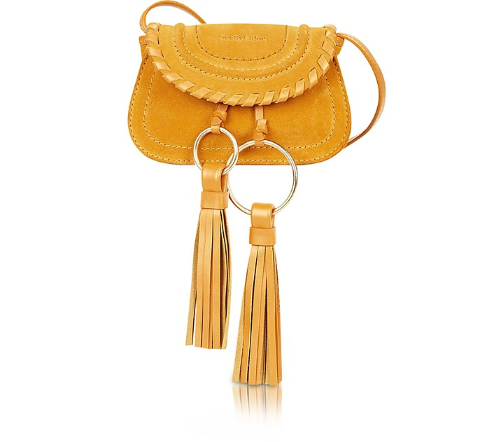 Polly Honey Suede & Leather Mini Crossbody Bag w/Tassels - See by Chloé