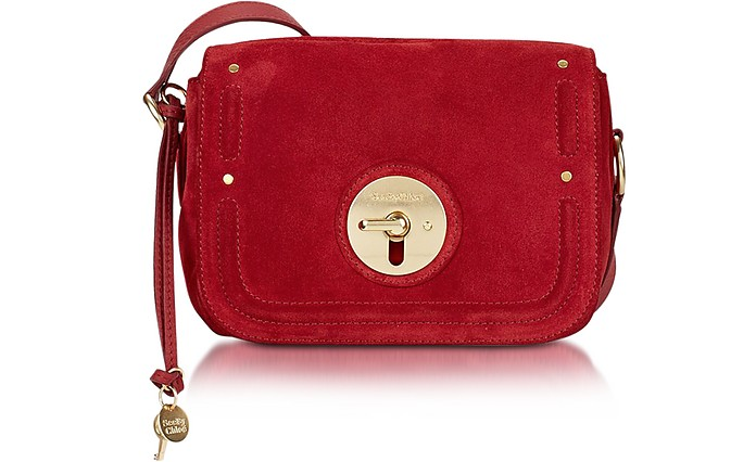 Lois Red Velvet Suede Crossbody Bag - See by Chloé