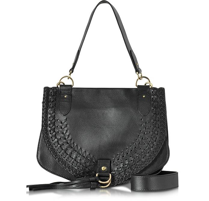 Collins Black Braided Leather Shoulder Bag w/Tassels - See by Chloé