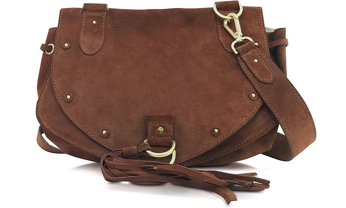 b9ca286892 See by Chloé chocolate brown Collins Medium Suede Crossbody Bag at ...