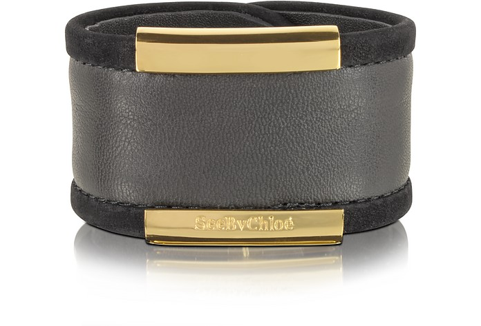 Graphite Leather Bangle - See by Chloé