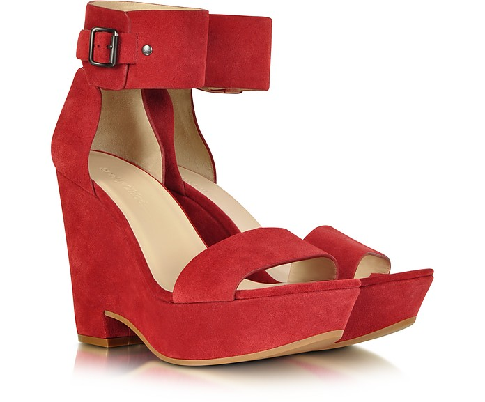 Eva Red Suede Wedge Sandal - See by Chloé