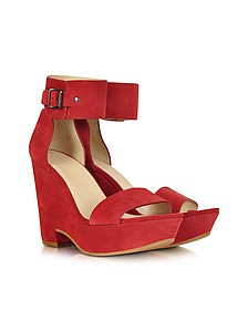 Eva Red Suede Wedge Sandal
