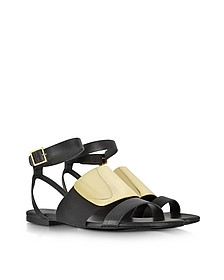 June Sandals in Black Leather
