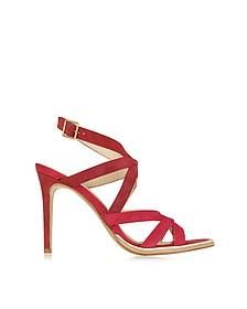 Gradient Red Suede High Heel Sandal