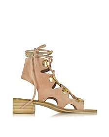 Powder Pink Suede Lace Up Flat Sandal Shoe - See by Chloé