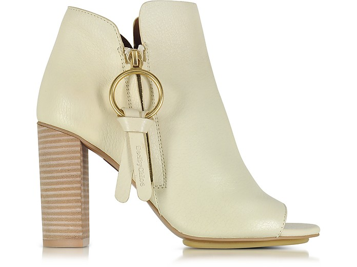 Vanilla Leather Ankle Bootie w/Zip - See by Chloé