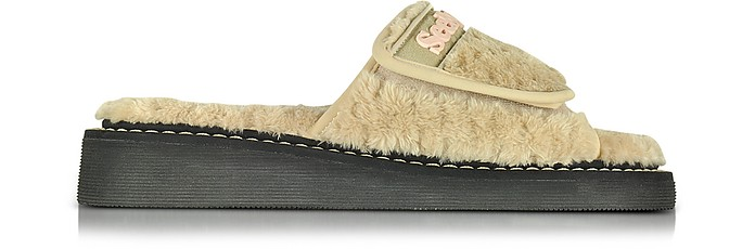 Beige Signature Fabric Flat Slide - See by Chloé