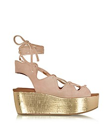 Liana Powder Pink Suede Lace-up Wedge Sandal - See by Chloé