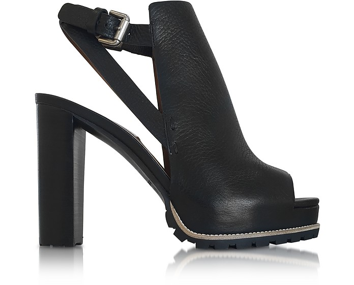 Black Leather Platform Slingback Sandal - See by Chloé