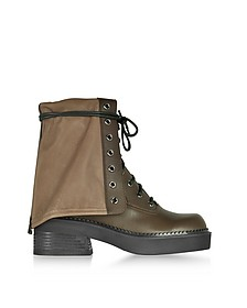 Kaki Calf Leather Combat Boots - See by Chloé