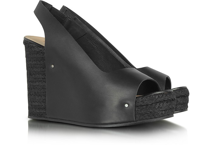 Black Leather and Jute Wedge Sandal - See by Chloé