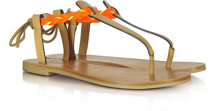 Brown and Fluo Calf Leather Sandal - See by Chloé