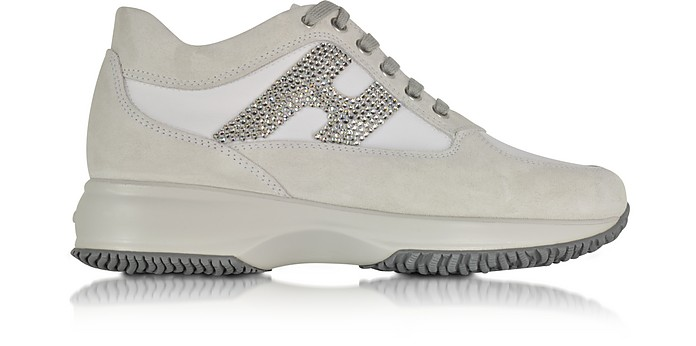 Hogan Interactive Off White Fabric and Beige Suede Sneaker 5 US ...