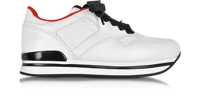 Hogan Club Sneaker Donna in Pelle Bianco Ottico con Glitter