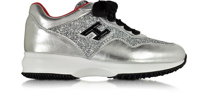 Hogan Club Silver Leather and Glitter Wedge Sneakers - Hogan