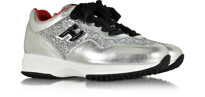 Hogan Hogan Club Silver Leather and Glitter Wedge Sneakers 5 US ...