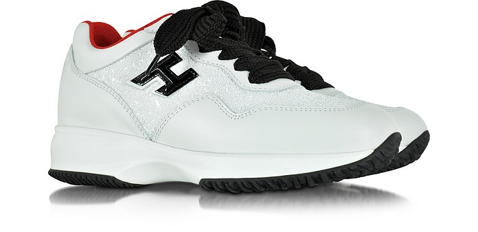 Interactive Club White Leather and Glitter Wedge Sneakers