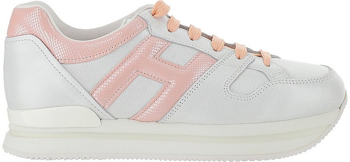 White ans Pale Pink Leather H222 Sneakers - Hogan