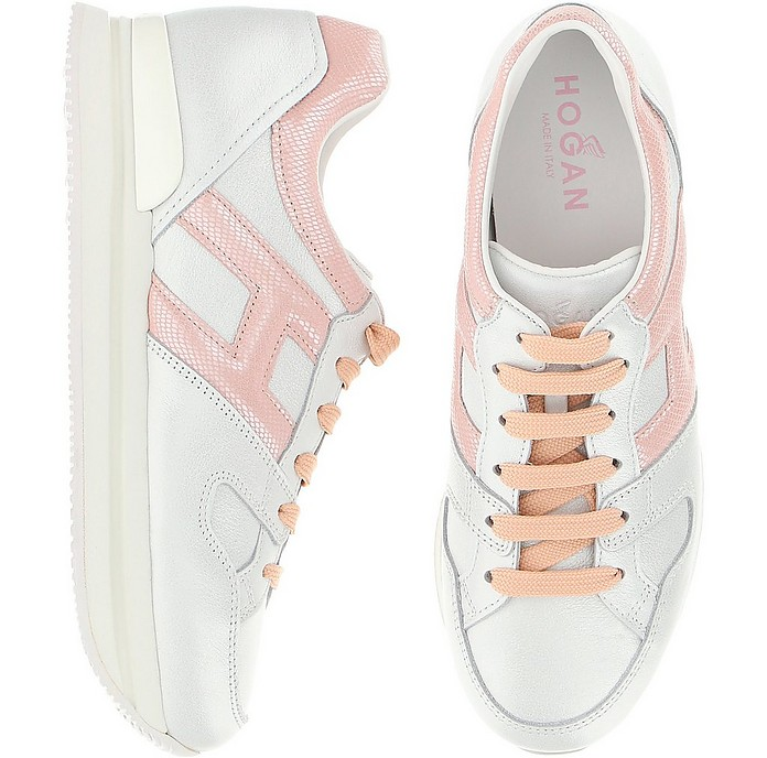 Hogan White ans Pale Pink Leather H222 Sneakers 39 IT/EU at FORZIERI