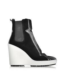 Black Velvet High-top Wedge Sneaker