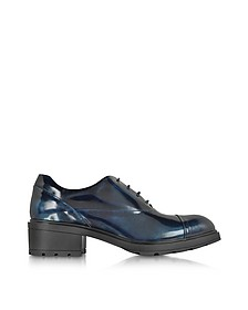 Pale Blue Patent Leather Brogue
