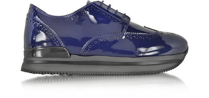 Hogan H222 Blue Patent Leather Wingtip Derby Sneaker 35 IT/EU at ...