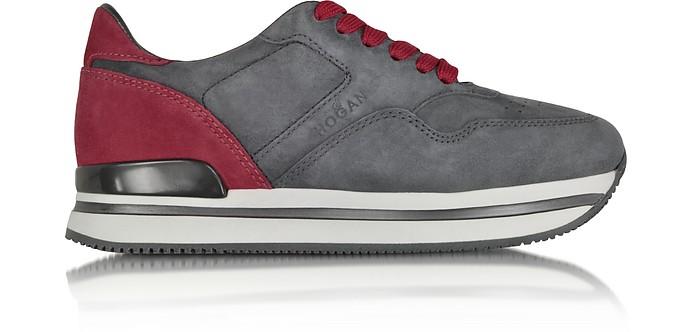H222 Nuovo Sportivo XL Gray and Fuchsia Suede Sneaker - Hogan