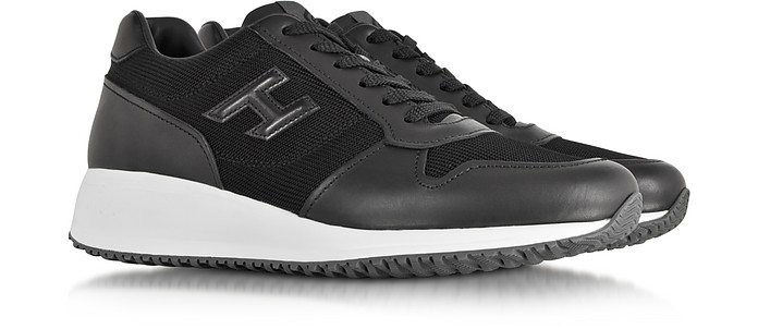 14835588bf590 Hogan Interactive N20 H 3D Black Leather and Fabric Sneaker 11 (12 ...