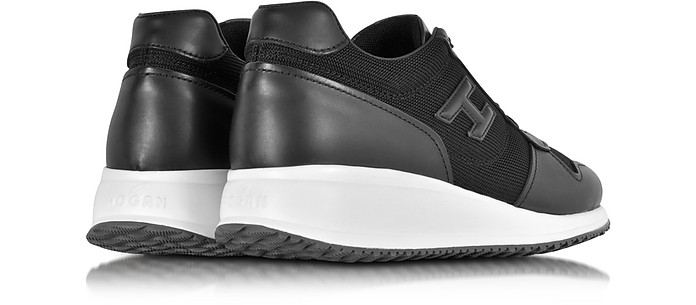 8817c2a00a2fd Hogan Interactive N20 H 3D Black Leather and Fabric Sneaker 6 (7 US ...