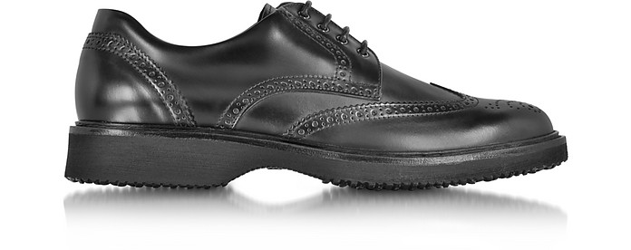 Hogan Route Black Leather Wingtip Derby Shoe 6 (7 US   6 UK   40 ...