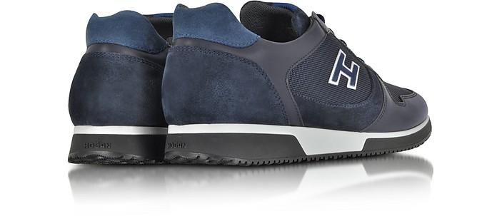 Hogan H198 Slash Blue Suede Leather and Nylon Sneaker 6 (7 US   6 ...