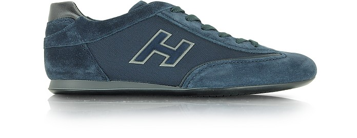 Olympia Dark Blue Fabric and Suede Sneaker