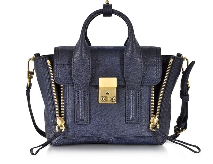 204a04ae355aa 3.1 Phillip Lim Ink Blue Pashli Mini Satchel w Shoulder Strap at ...