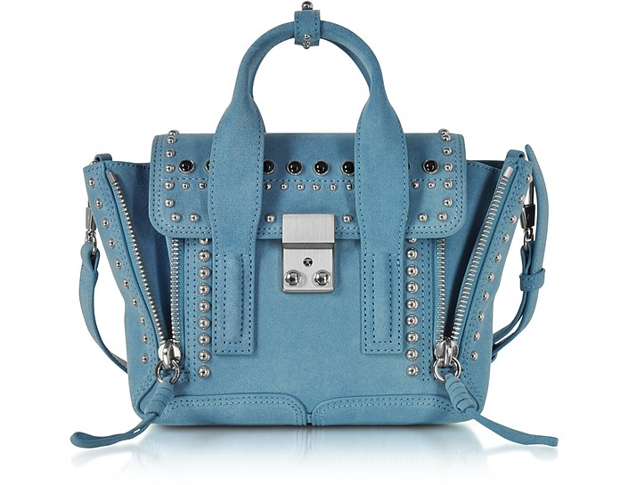 Pashli French Blue Suede Mini Satchel Bag w/Studs - 3.1 Phillip Lim