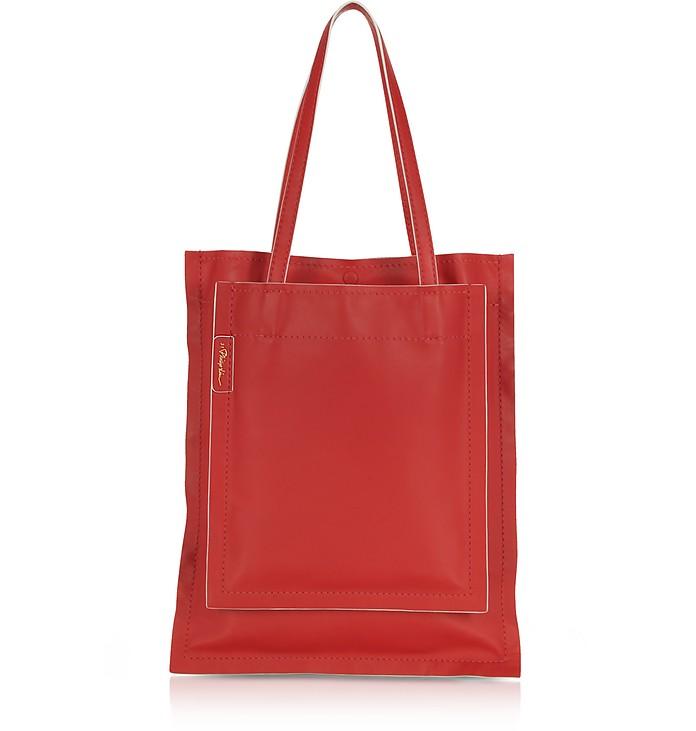 Slim Accordion Scarlet Leather Tote Bag - 3.1 Phillip Lim
