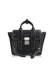 Black Leather Pashli Mini Satchel Bag w/White Stitching - 3.1 Phillip Lim