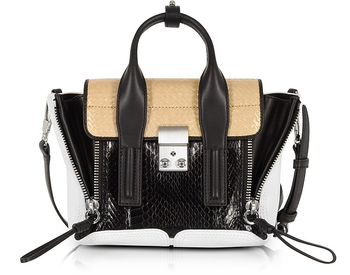 Black/Natural Elaphe and Leather Pashli Mini Satchel Bag - 3.1 Phillip Lim