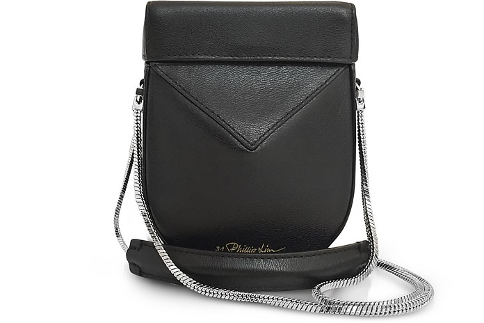 Mini Soleil Chain Strap Leather Shoulder Bag - Black