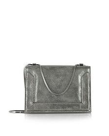 Gunmetal Metallic Leather Soleil Chain Shoulder Bag