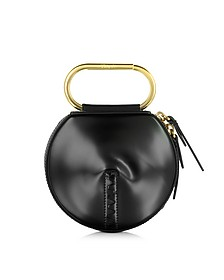 Black Leather Alix Circle Clutch